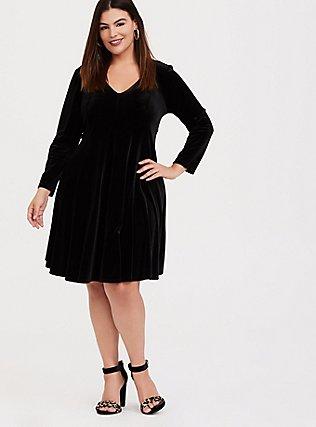 Black Velvet Fluted Dress, DEEP BLACK, alternate