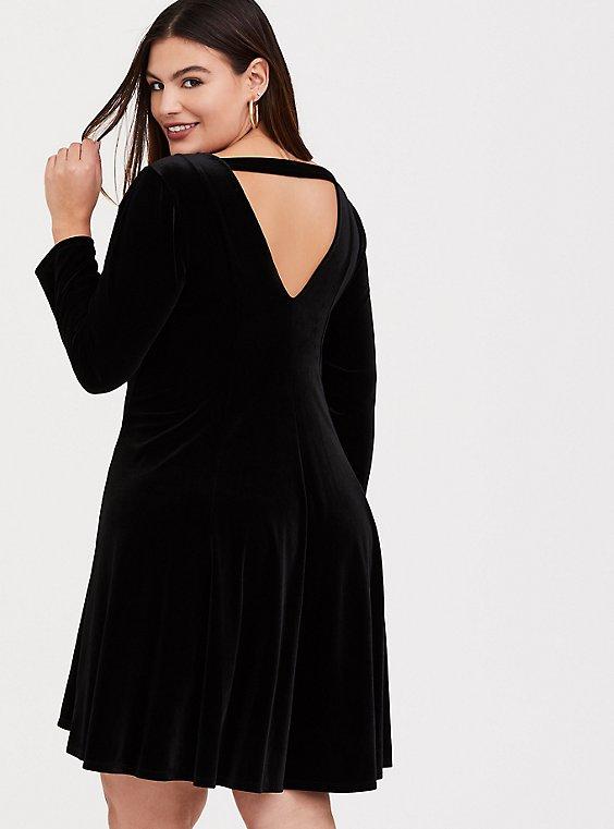 Black Velvet Fluted Dress, , hi-res