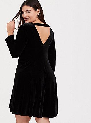 Black Velvet Fluted Dress, DEEP BLACK, hi-res