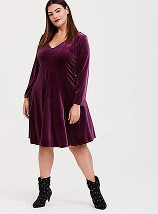 Burgundy Purple Velvet Fluted Dress, HIGHLAND THISTLE, alternate