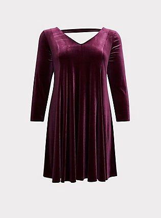 Burgundy Purple Velvet Fluted Dress, HIGHLAND THISTLE, flat