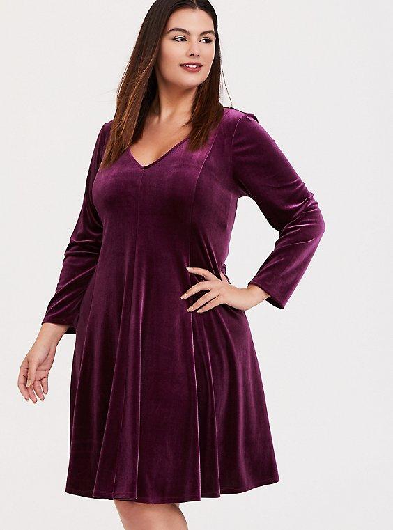 Burgundy Purple Velvet Fluted Dress, , hi-res