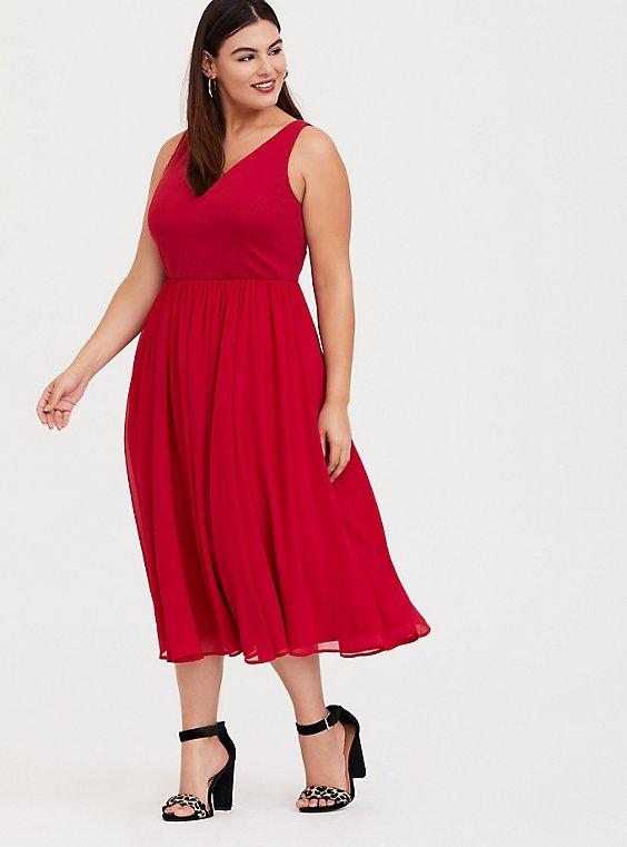 Red Ponte & Chiffon Midi Dress, , hi-res