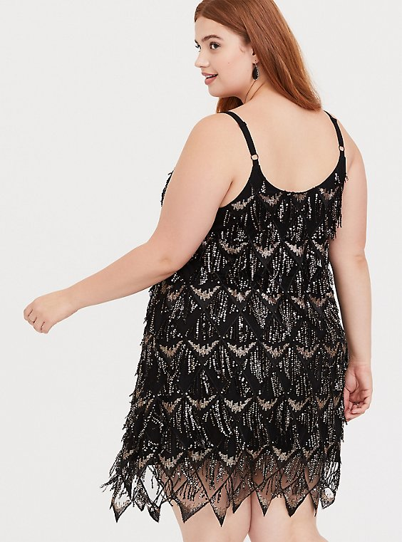 Special Occasion Black & Gold Fringe Mini Dress - Plus Size ...