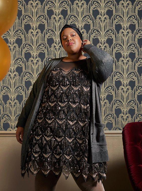 Special Occasion Black & Gold Fringe Mini Dress - Plus Size ...