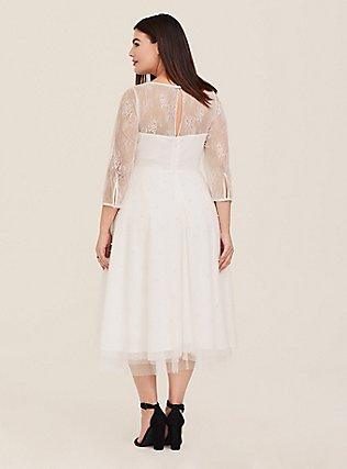 Plus Size Special Occasion Ivory Lace Illusion Midi Dress, CLOUD DANCER, alternate