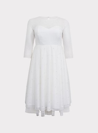 Special Occasion Ivory Lace Illusion Midi Dress, CLOUD DANCER, flat