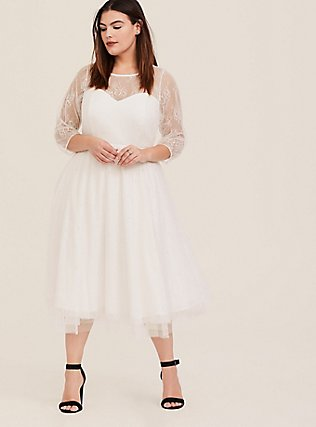 Plus Size Special Occasion Ivory Lace Illusion Midi Dress, CLOUD DANCER, hi-res