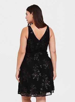 Special Occasion Black Sequin Skater Dress, DEEP BLACK, alternate