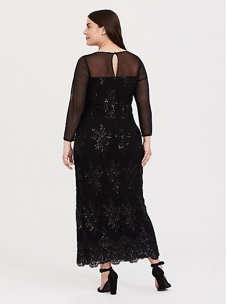 Special Occasion Black Sequin & Mesh Gown, DEEP BLACK, alternate