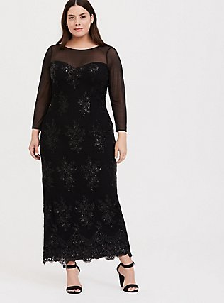 Special Occasion Black Sequin & Mesh Gown, DEEP BLACK, hi-res