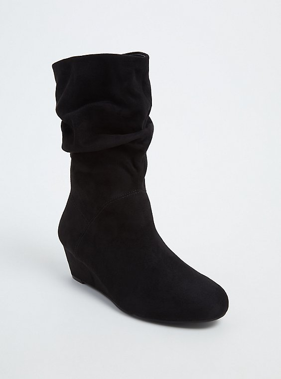 Black Faux Suede Slouchy Demi Wedge Boot (WW), , hi-res