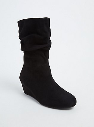 Black Faux Suede Slouchy Demi Wedge Boot, BLACK, hi-res