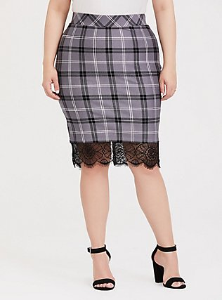 Slate Grey Plaid Premium Ponte Lace Trim Pencil Skirt, DARK PEARL GREY, alternate
