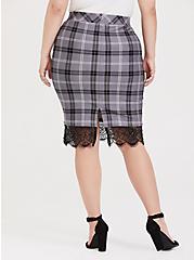 Slate Grey Plaid Premium Ponte Lace Trim Pencil Skirt, DARK PEARL GREY, alternate