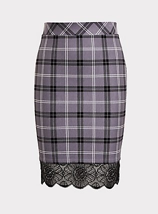 Slate Grey Plaid Premium Ponte Lace Trim Pencil Skirt, DARK PEARL GREY, flat