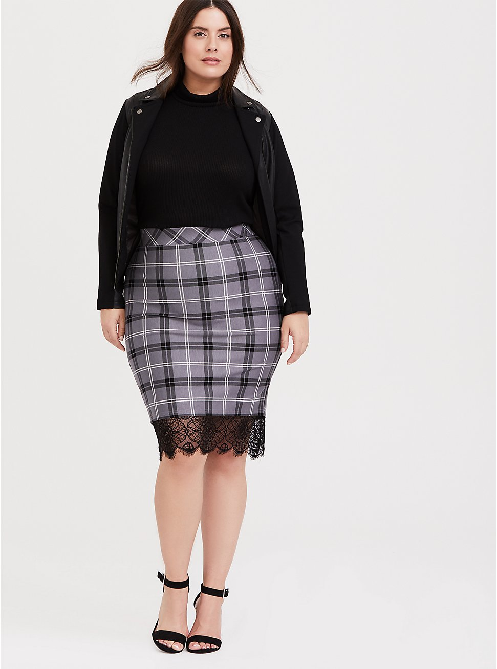 Slate Grey Plaid Premium Ponte Lace Trim Pencil Skirt, DARK PEARL GREY, hi-res