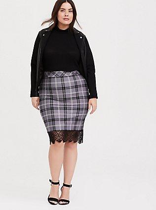 Grey Plaid Premium Ponte Lace Trim Pencil Skirt, DARK PEARL GREY, hi-res