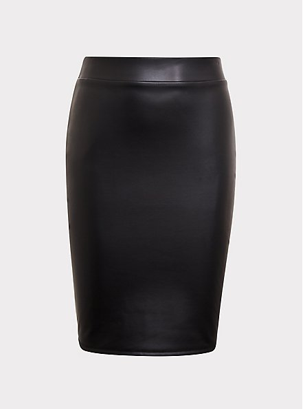 Black Faux Pleather Pencil Skirt, DEEP BLACK, hi-res