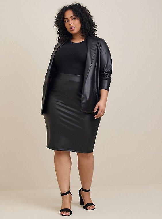 Black Faux Pleather Pencil Skirt, , hi-res