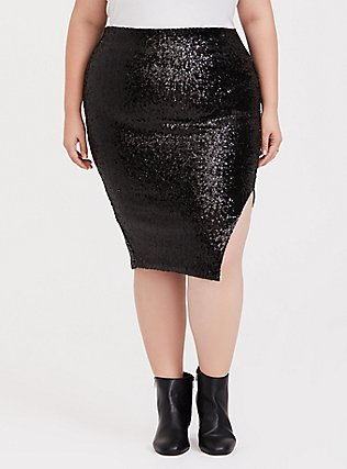 Plus Size Black Sequin Side Slit Midi Pencil Skirt, DEEP BLACK, hi-res