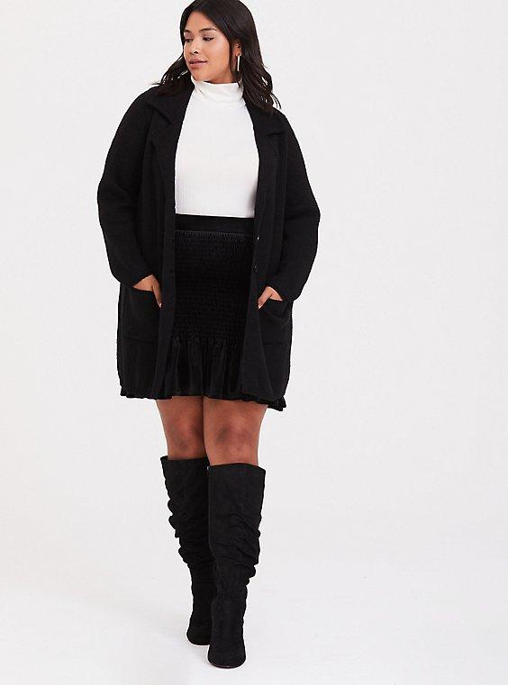 Black Velvet Smocked Ruffle Mini Skirt, , hi-res