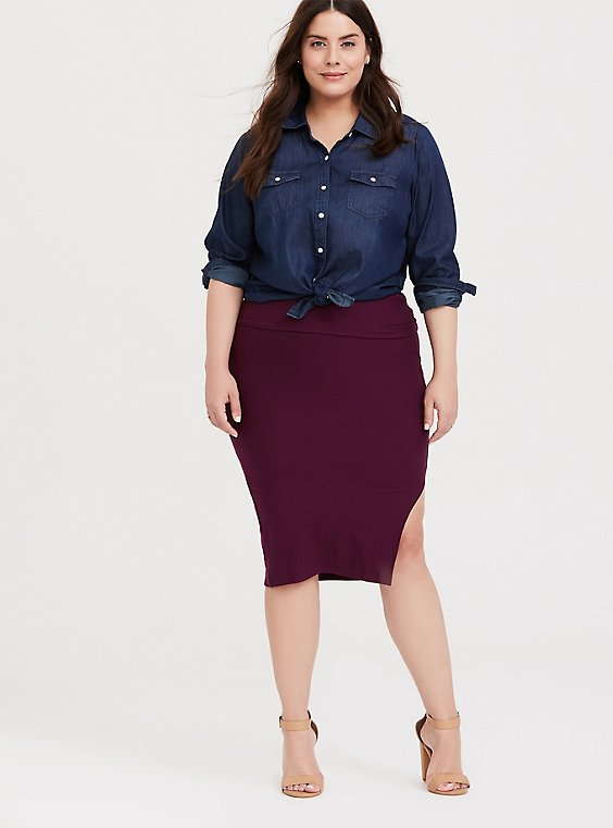 Burgundy Purple Side Slit Foldover Midi Skirt, , hi-res