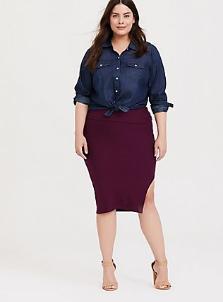 Burgundy Purple Side Slit Foldover Midi Skirt, HIGHLAND THISTLE, hi-res