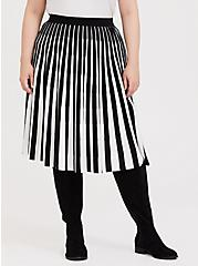 Black & White Stripe Sweater-Knit Pleated Midi Skirt, DEEP BLACK, alternate