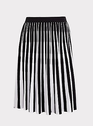 Black & White Stripe Sweater-Knit Pleated Midi Skirt, DEEP BLACK, flat