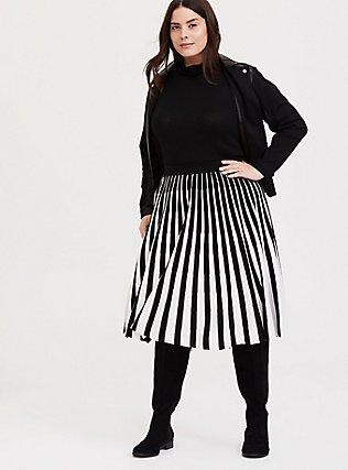 Black & White Stripe Sweater-Knit Pleated Midi Skirt, DEEP BLACK, hi-res