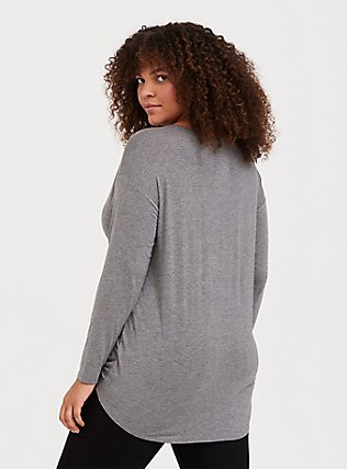 Need More Coffee Super Soft Grey Tie Front Tunic Tee, MEDIUM HEATHER GREY, alternate