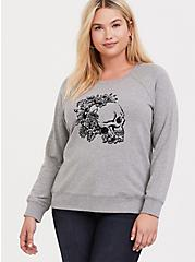 Grey Floral Skull Sweatshirt, MEDIUM HEATHER GREY, alternate