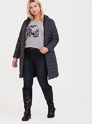 Plus Size Grey Floral Skull Sweatshirt, MEDIUM HEATHER GREY, alternate