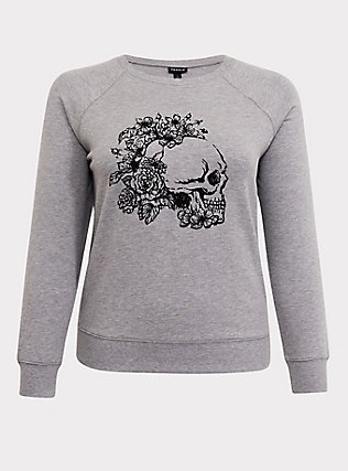 Plus Size Grey Floral Skull Sweatshirt, MEDIUM HEATHER GREY, flat