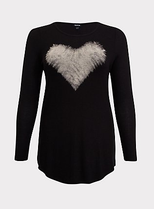 Black Bleached Heart Waffle-Knit Long Sleeve Tunic Tee, DEEP BLACK, flat