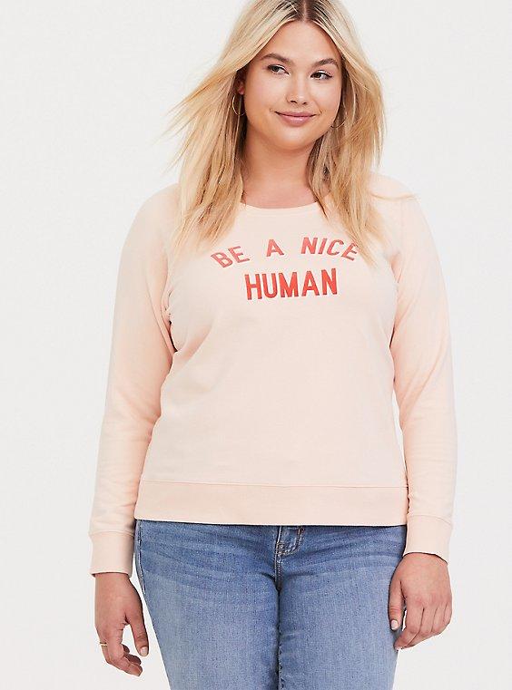 Plus Size Be A Nice Human Pink Raglan Sweatshirt, , hi-res