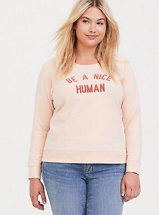 Be A Nice Human Pink Raglan Sweatshirt, PALE BLUSH, hi-res