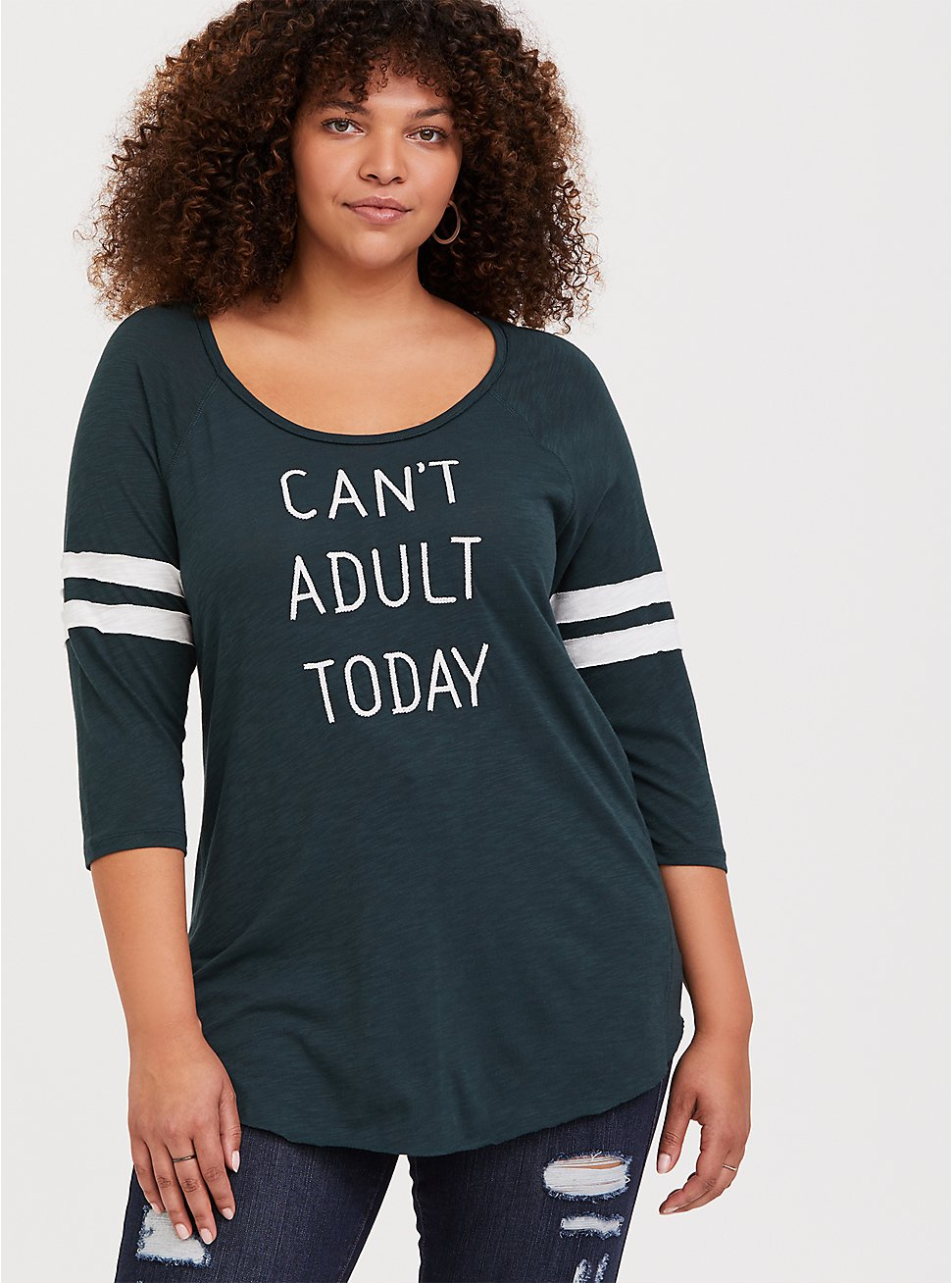 Can't Adult Today Green Football Raglan Tee, GREEN GABLES, hi-res