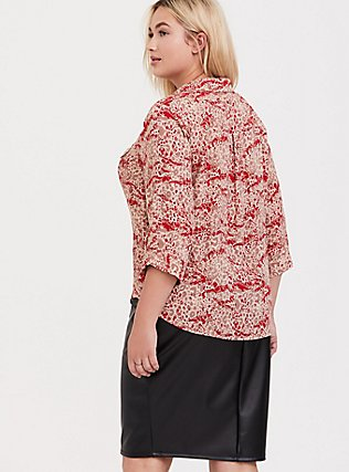 Madison - Red Mixed Animal Print Georgette Button Front Blouse, MULTI, alternate