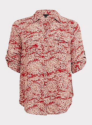 Madison - Red Mixed Animal Print Georgette Button Front Blouse, MULTI, flat