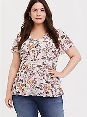 Plus Size Blush Pink Floral Chiffon Tiered Babydoll Top, MULTI, alternate