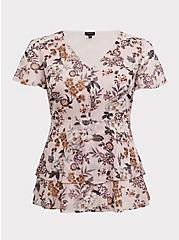 Plus Size Blush Pink Floral Chiffon Tiered Babydoll Top, MULTI, hi-res