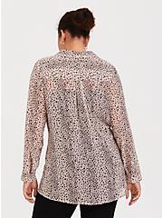 Taupe & Pink Leopard Chiffon Twist-Front Tunic, MULTI, alternate