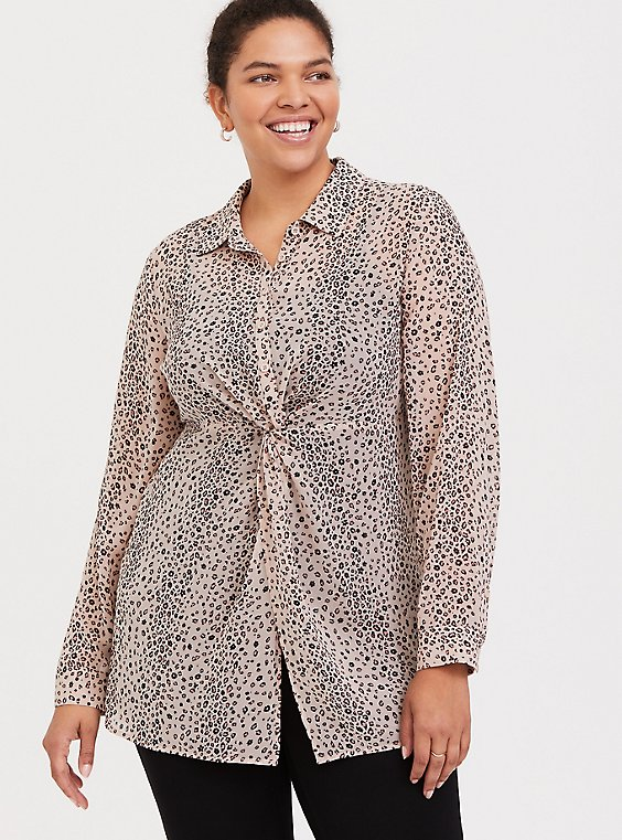 Taupe & Pink Leopard Chiffon Twist-Front Tunic, , hi-res