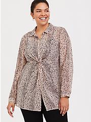 Taupe & Pink Leopard Chiffon Twist-Front Tunic, MULTI, hi-res