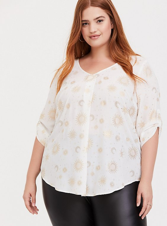 White Sun & Moon Georgette Pleated Pullover Blouse, , hi-res