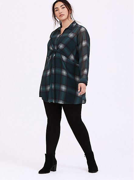 Plus Size Green Plaid Chiffon Twist-Front Tunic Top, MULTI, alternate