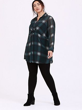 Green Plaid Chiffon Twist-Front Tunic Top, MULTI, alternate