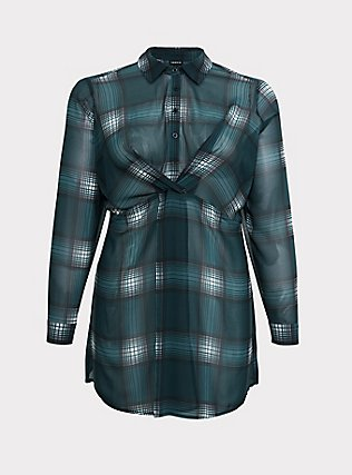 Green Plaid Chiffon Twist-Front Tunic Top, MULTI, flat